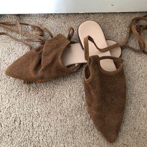 Zara Mule Flats with tie & tassels / size 6